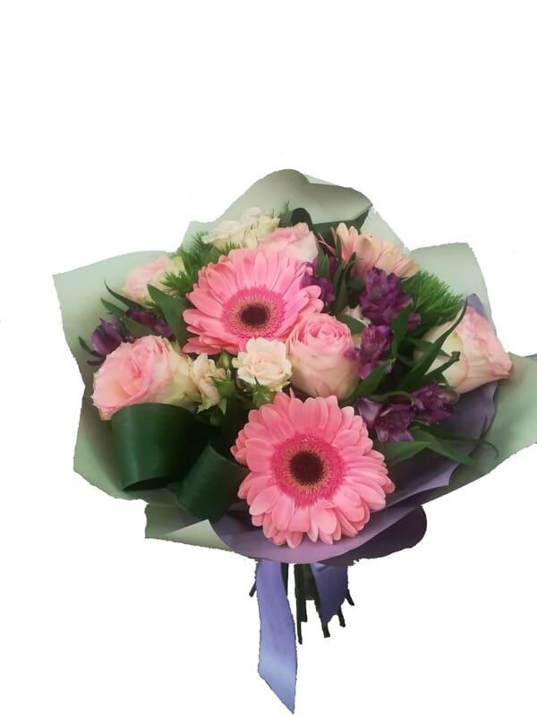 Голландские, собрать букет из гербер и кустовых роз