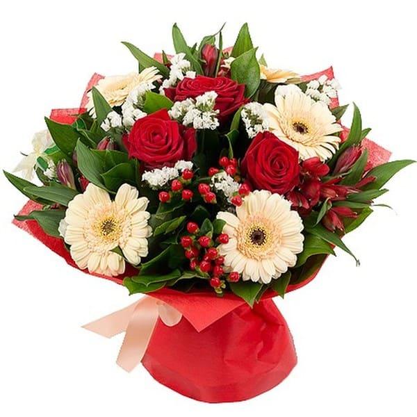 Букет герберы с розами